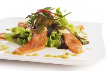 Recipe Smoked salmon, mango and rucola salad