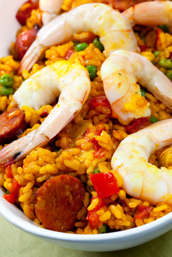 Shrimp paella; paella bil-gambli