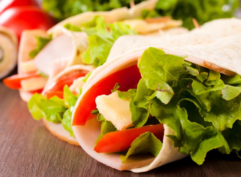 Recipe Fruit and veggie lettuce wraps with honey mustard dressing