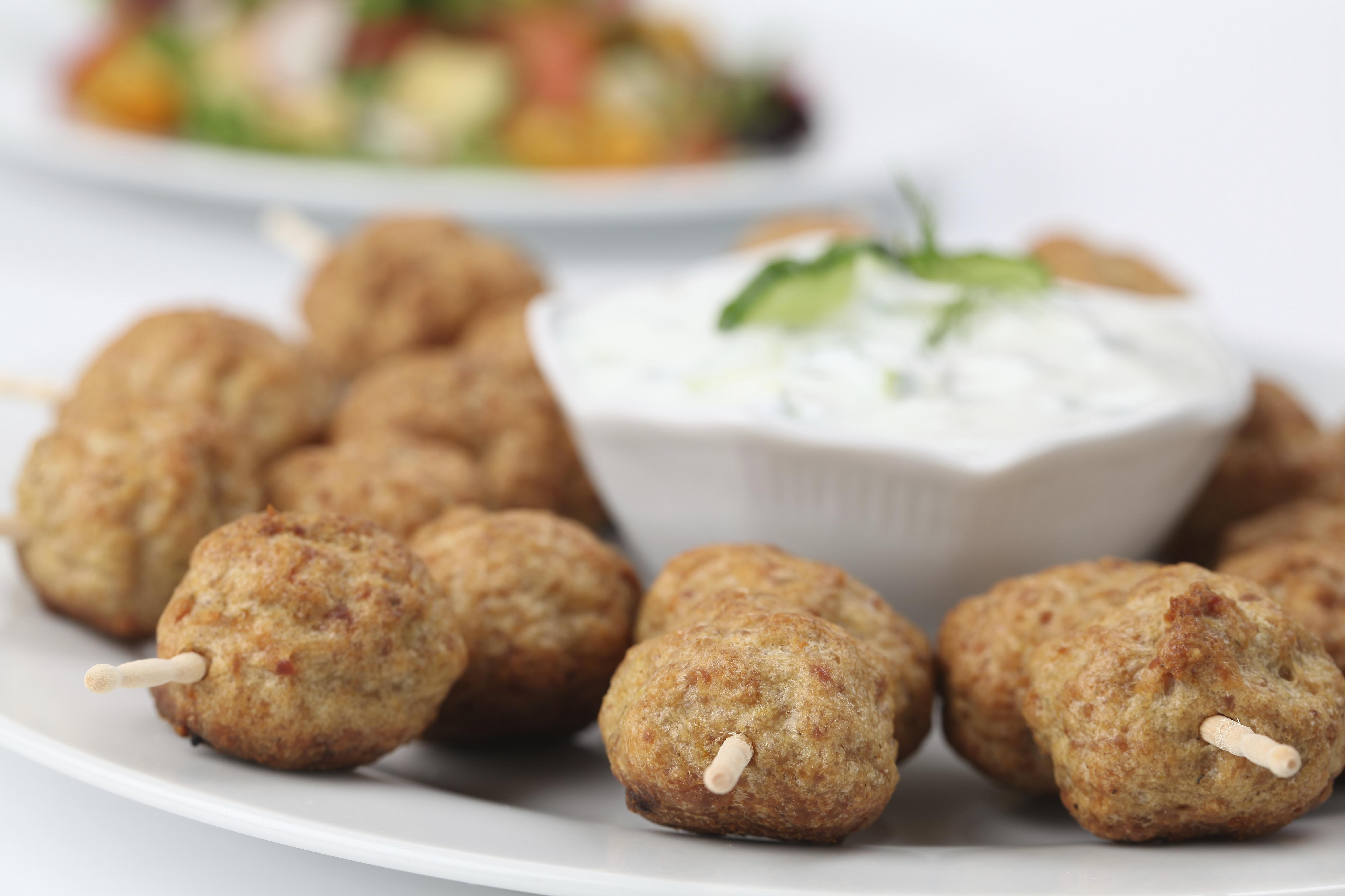Greek meatball skewers