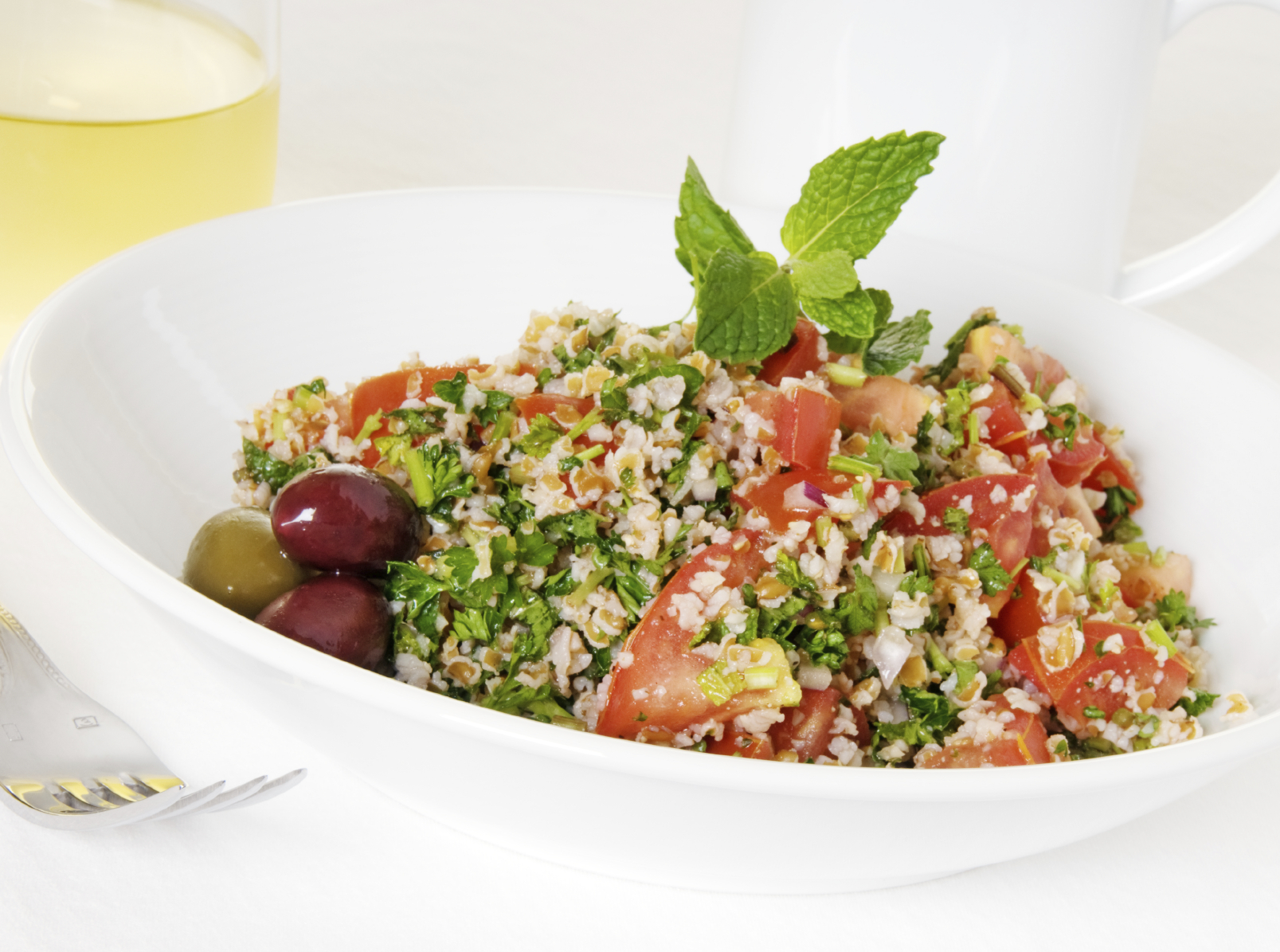 Bulgar wheat salad , parsley and tomatoes