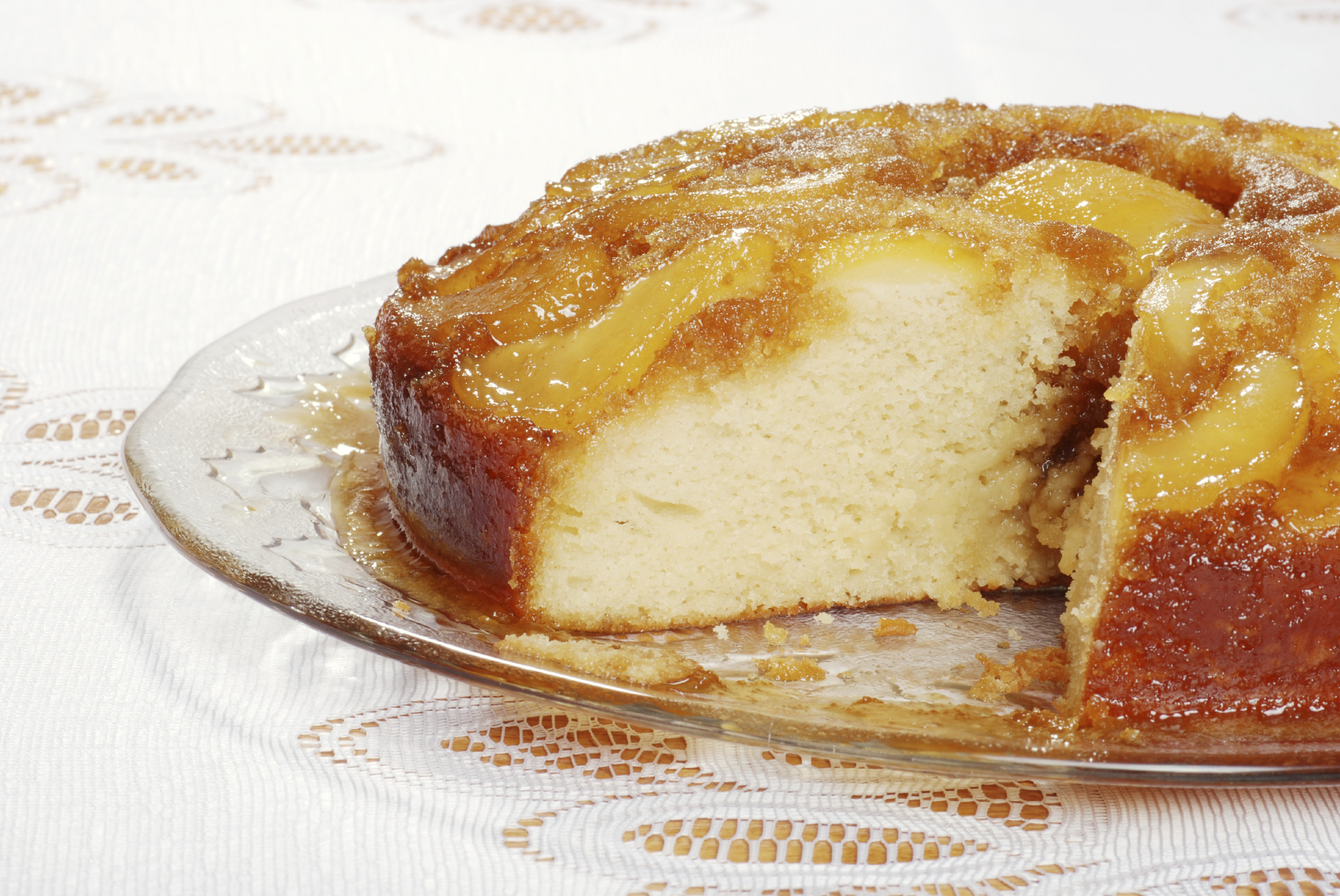 Pear and nut upside down cake