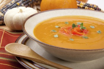 Roasted pepper and basil soup