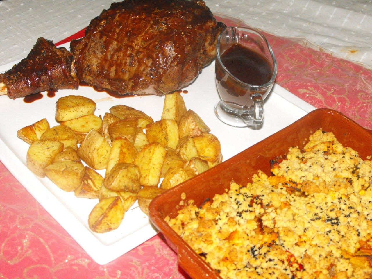 Chocolate laced spicy lamb served with cumin and garlic veggie crumble and roast potatoes by Becky Pace Bayona