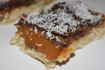 Caramel and chocolate shortbread bars by Elaine Gatt