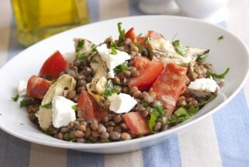 Lentil salad: Insalata tal-għads, bżar u ġobon feta