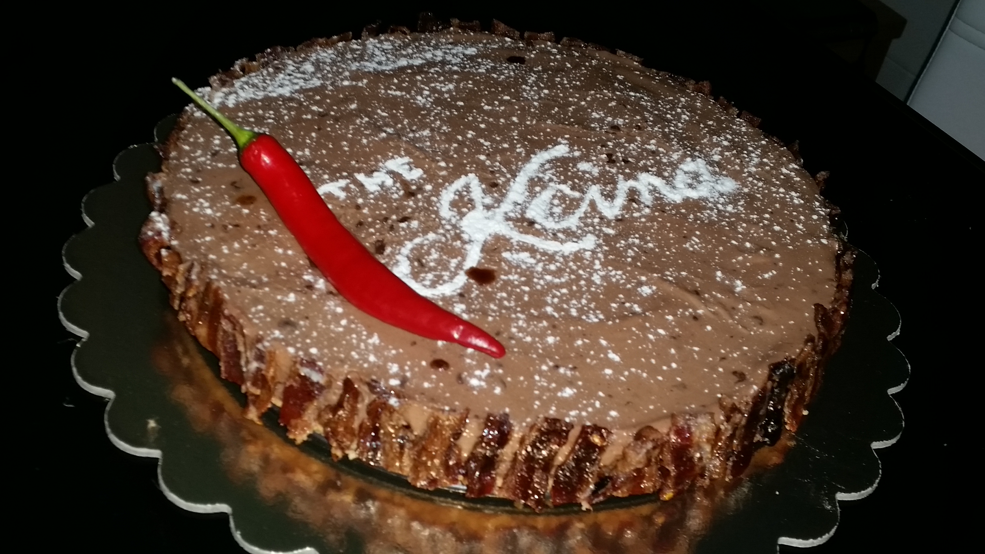 Chili chocolate and coffee cheesecake with a candied bacon crust by Mark Weston