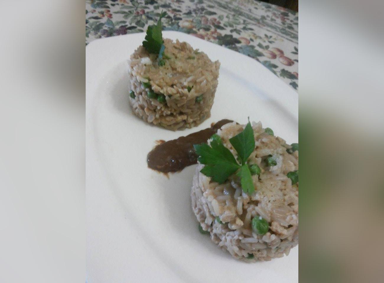 Chicken risotto with a salty rice & chocolate ganache by Kieran Micallef