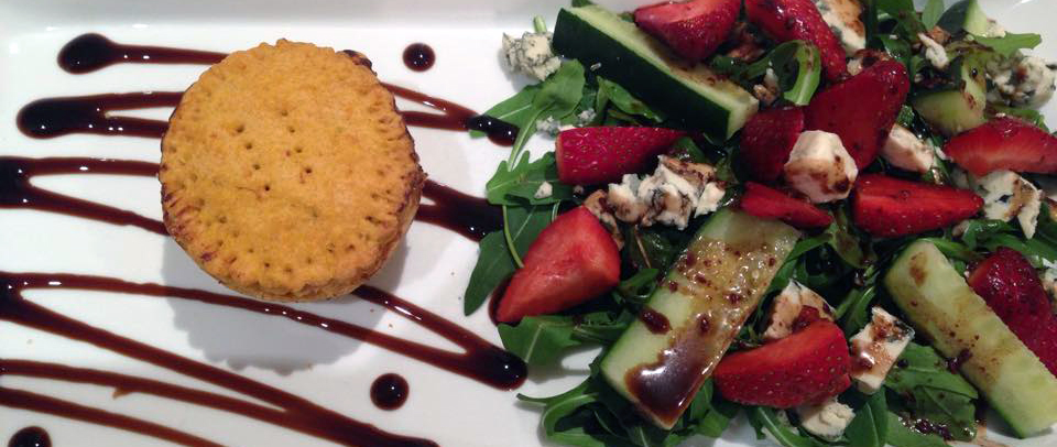 Mini turkey pie with a strawberry salad with chocolate balsamic dressing by Nadette Mifsud