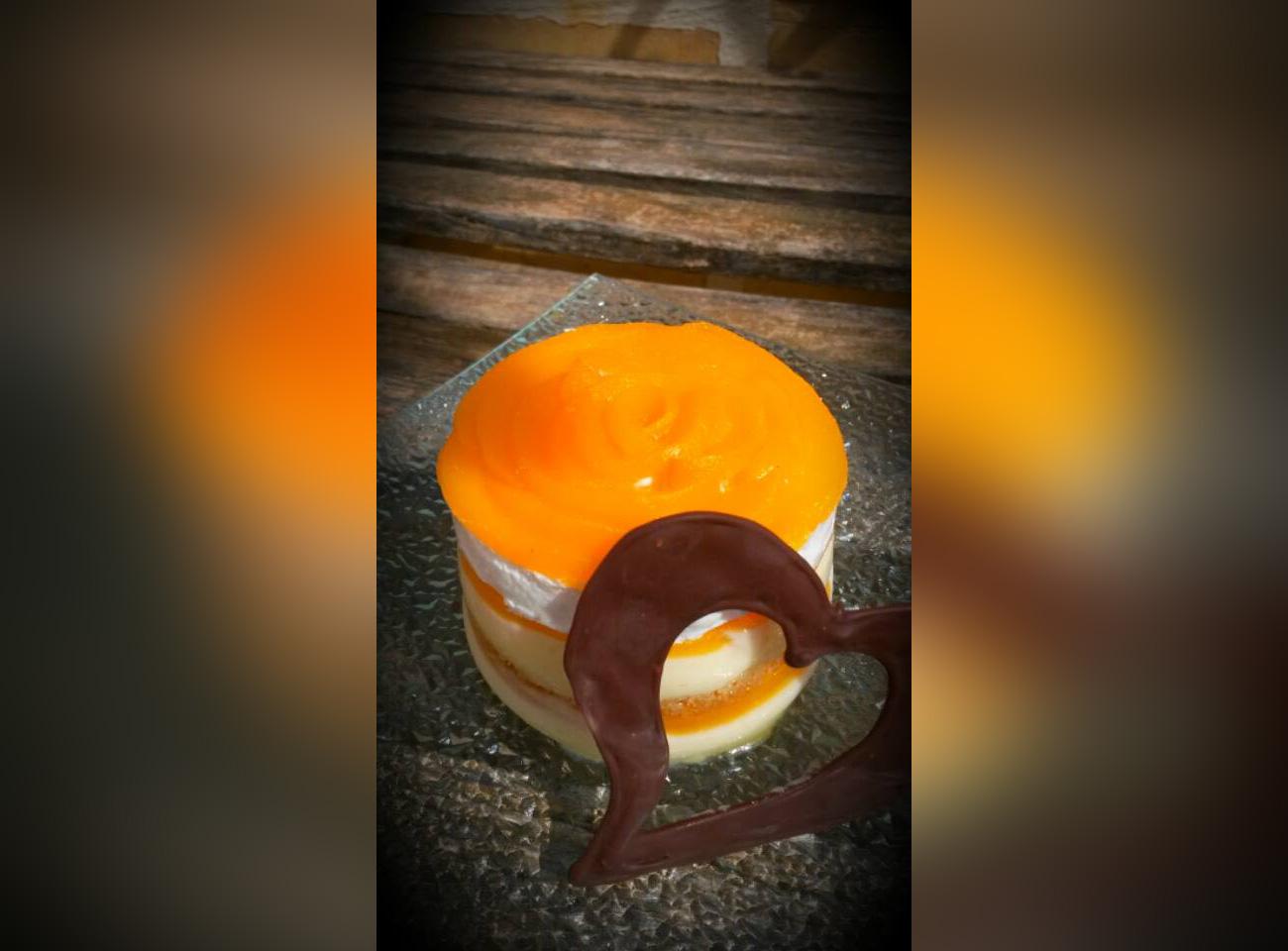 Peach sponge and cream cake by Stephanie Curmi