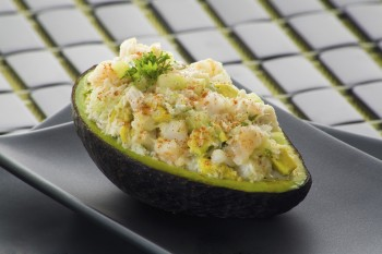Avocado filled with crabmeat