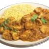 Chicken potato curry on rice