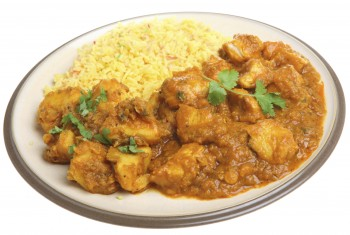 Chicken potato curry on rice