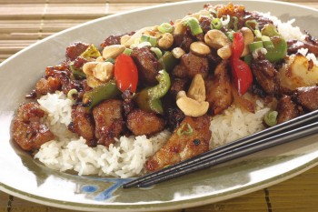 Chicken with sweet peppers and cashews