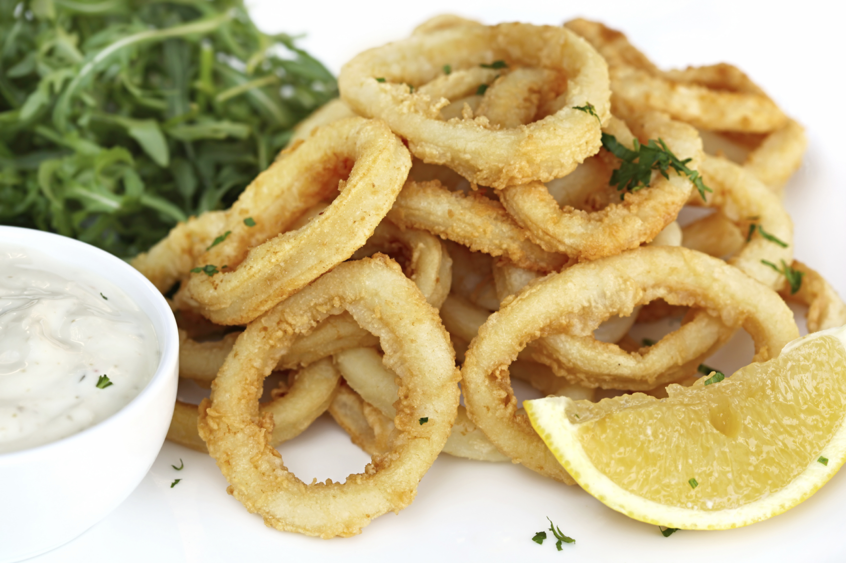 Calamari rings in beer batter
