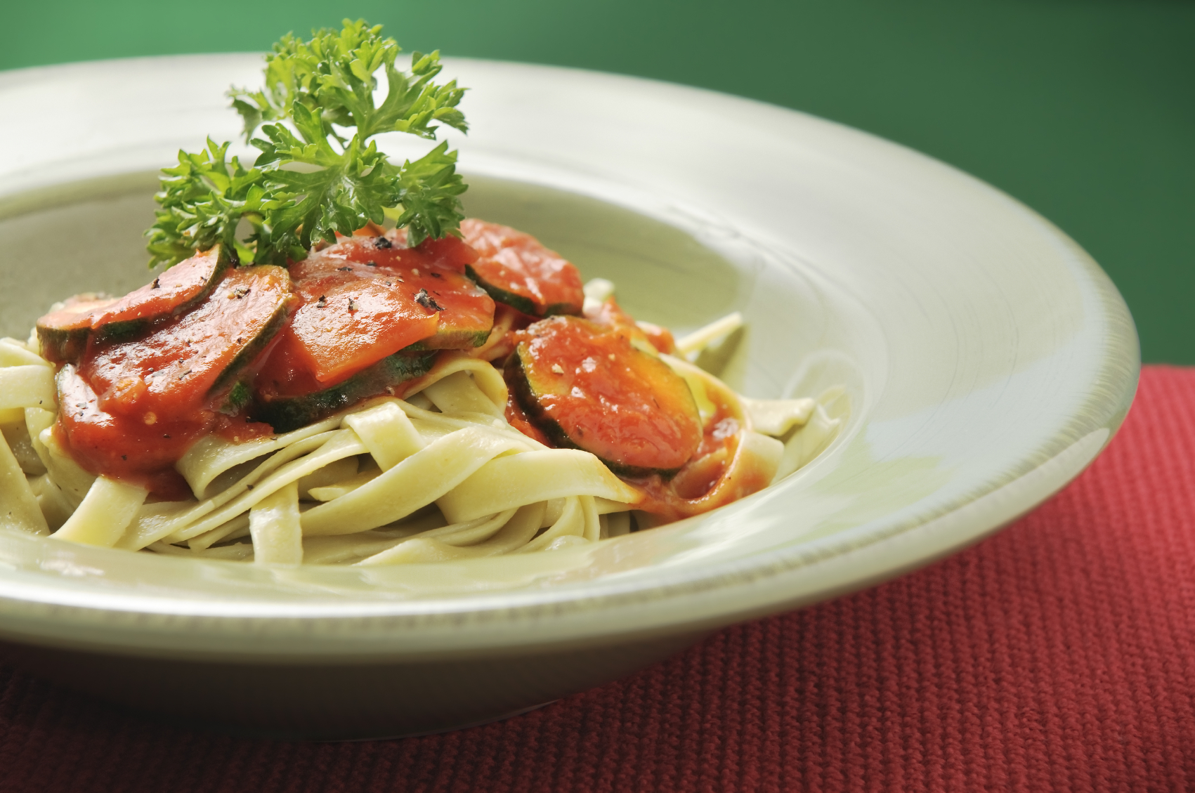 Fettucini with eggplant and Courgettes