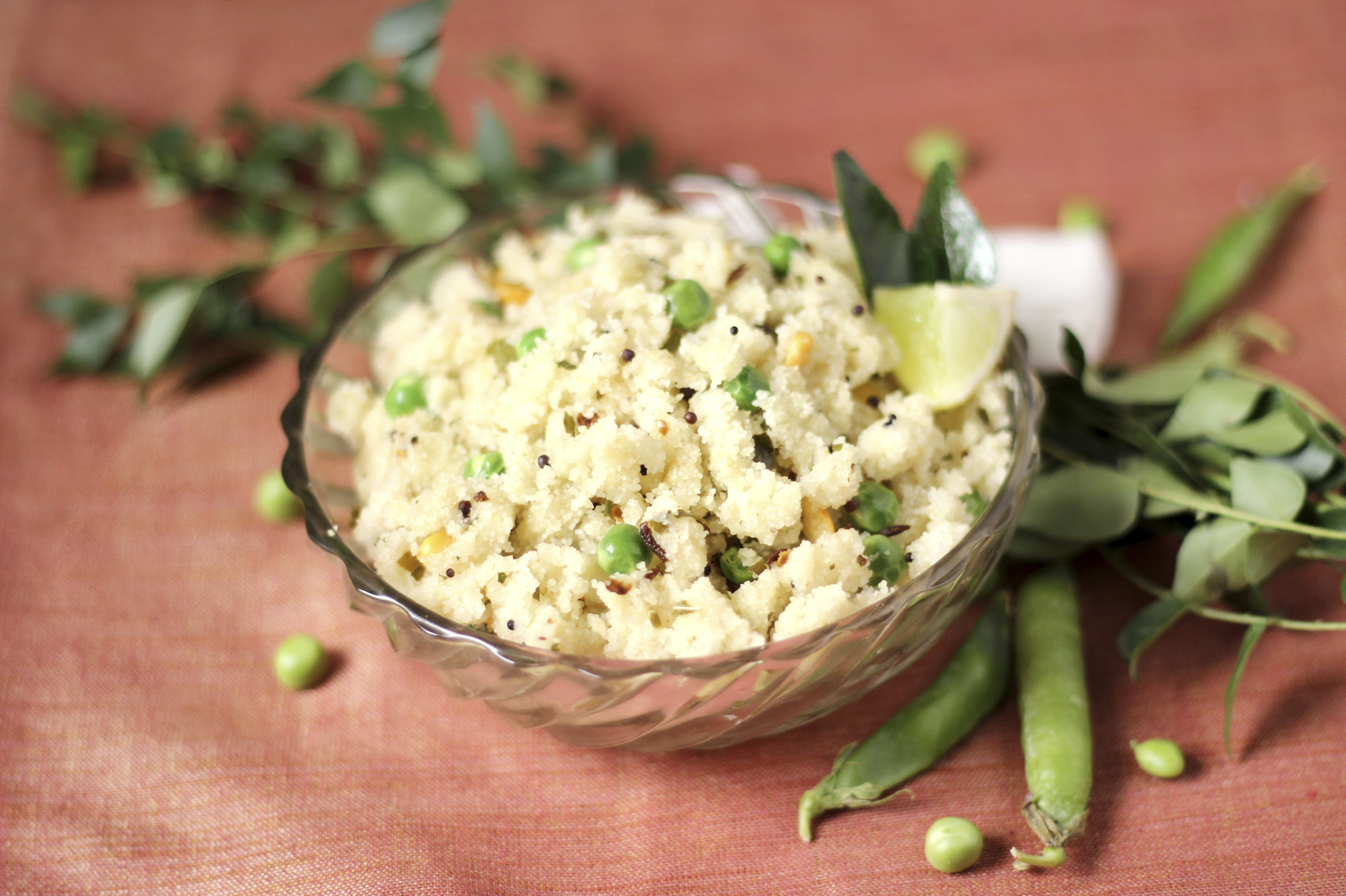 Couscous with peas, almonds and mint