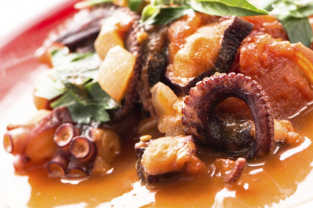 Stewed octopus in tomatoe sauce
