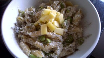 Vegetarian recipe:  Broad bean and three cheese pasta