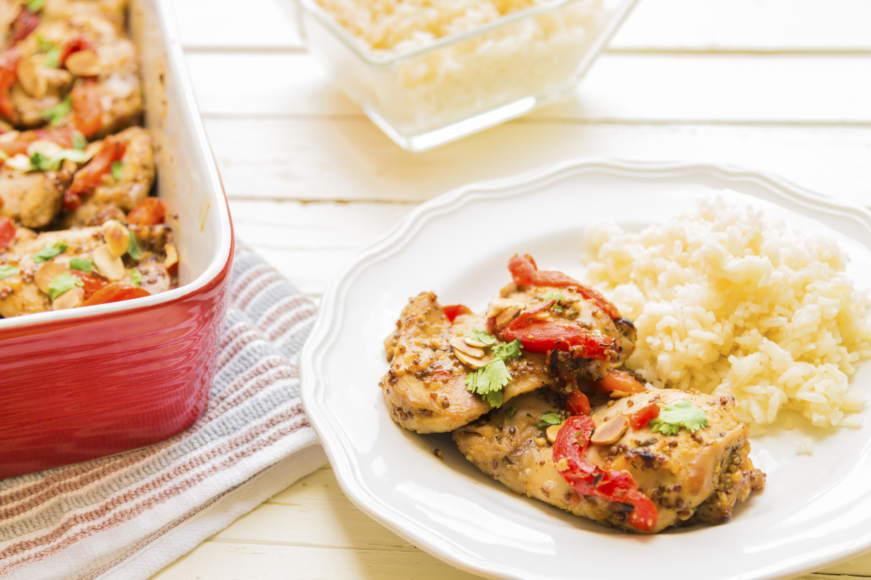 Roasted chicken thighs with red peppers