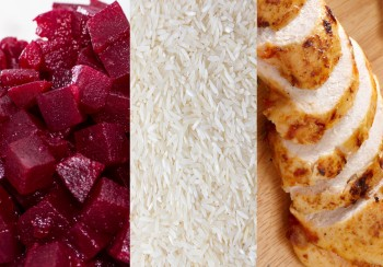 Chicken with beetroot rice salad