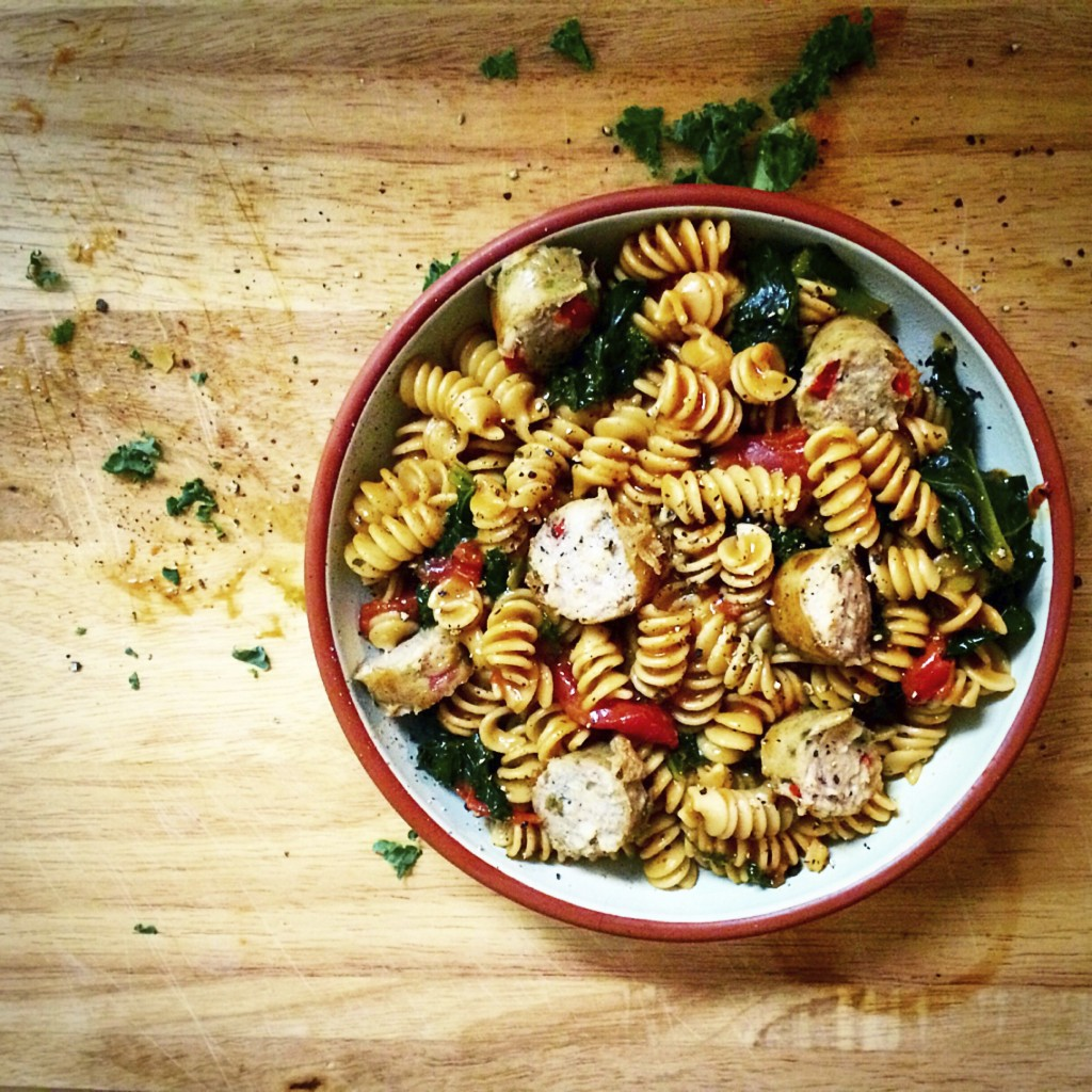 Fusilli with kale and chorizo