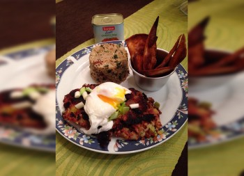 Recipe: Corned beef hash with pecan rice and tortilla chips