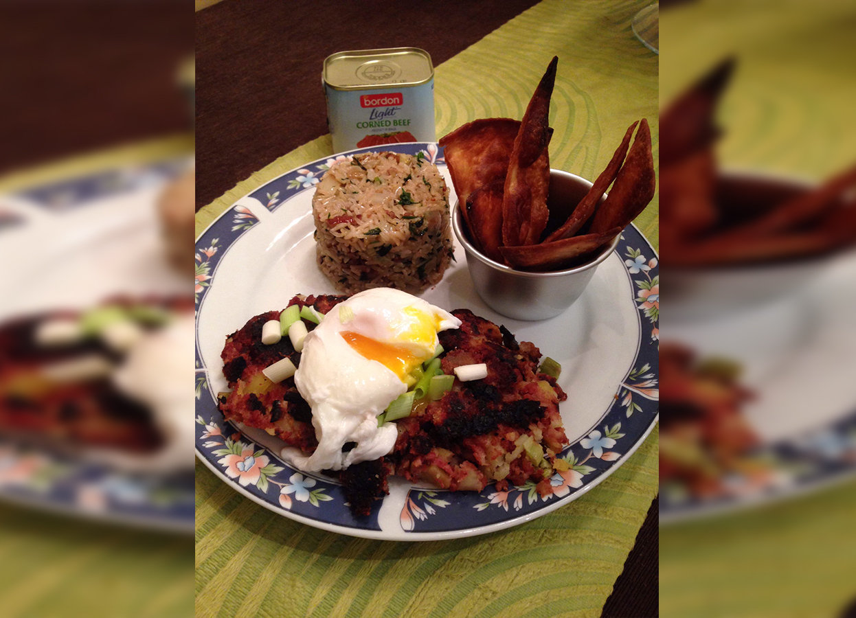 Nadette Mifsud BORDON Recipe: Corned beef hash with pecan rice and tortilla chips