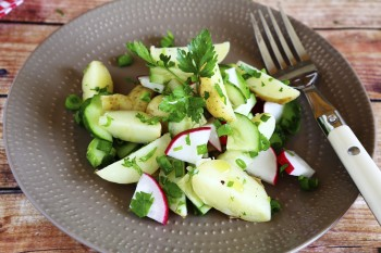 Potato radish and beetroot salad