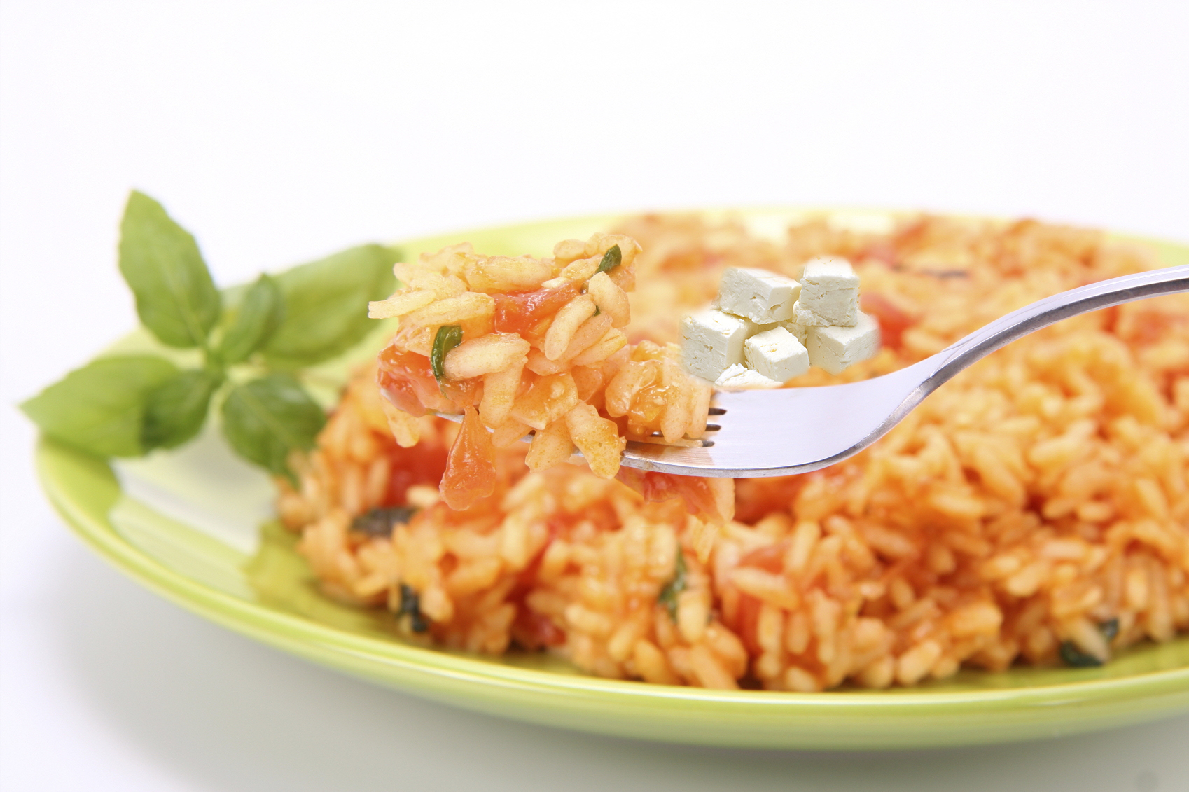 Rice with tomatoes and feta cheese