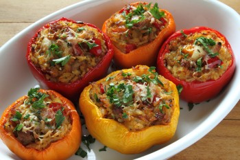 Sweet peppers stuffed with barley pasta