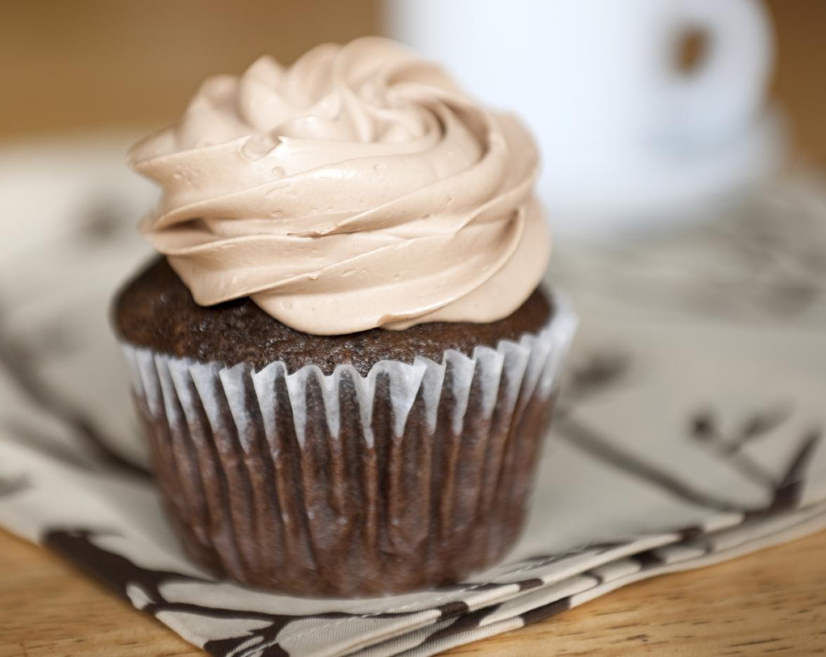 Coffee cupcake with chocolate cream