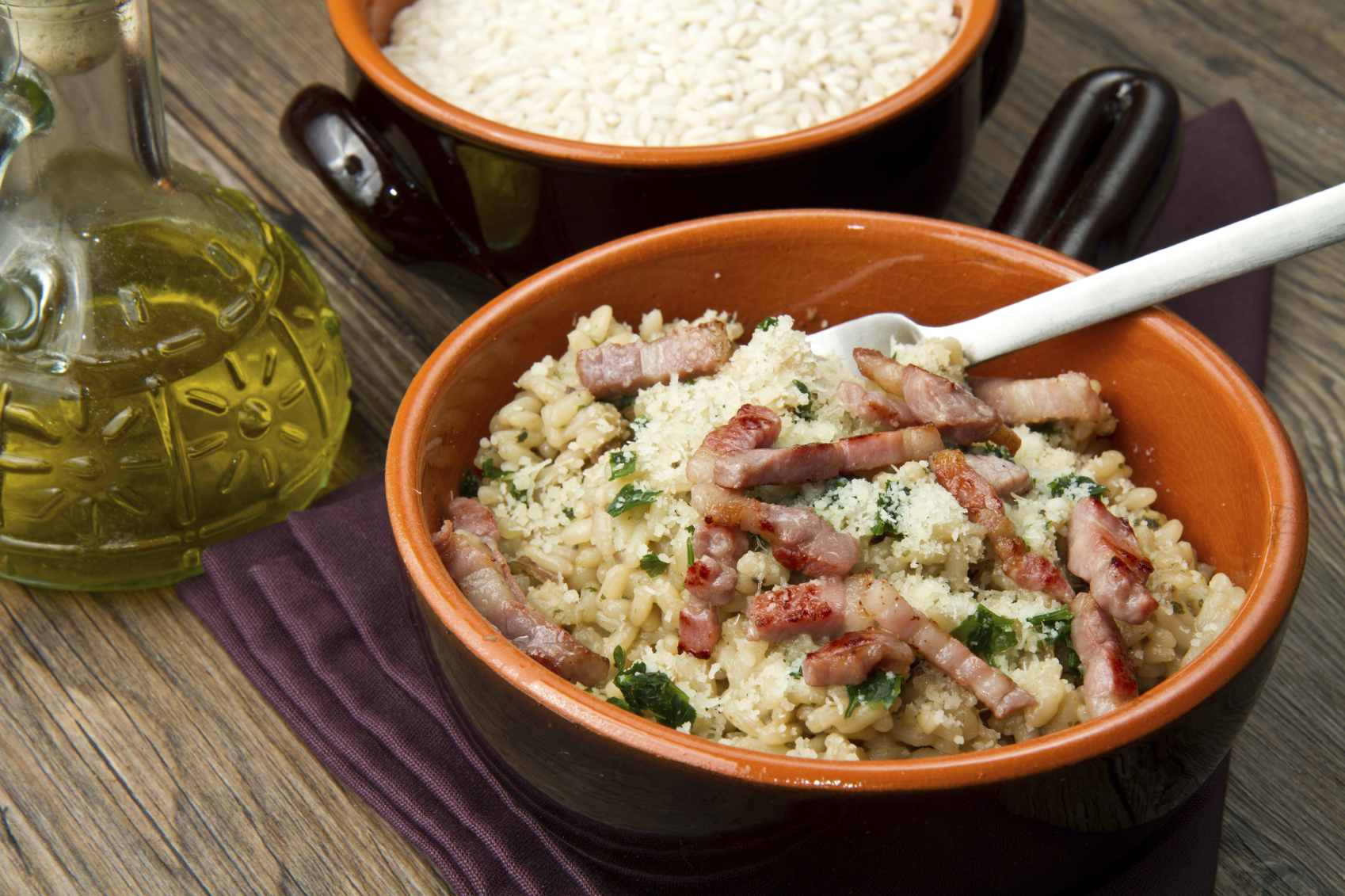 Bacon and onion risotto