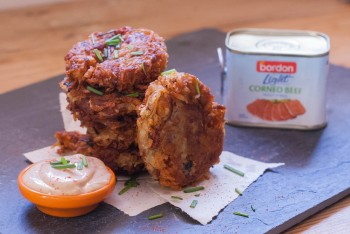 Recipe: Corned beef and onion rosti with BBQ mayo dipping sauce