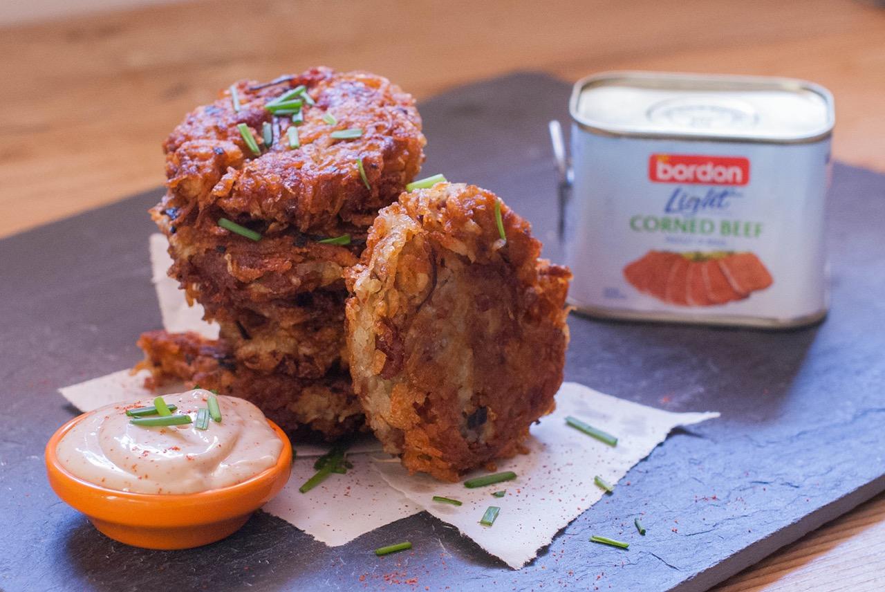 Clara BB BORDON Recipe: Corned beef and onion rosti with BBQ mayo dipping sauce
