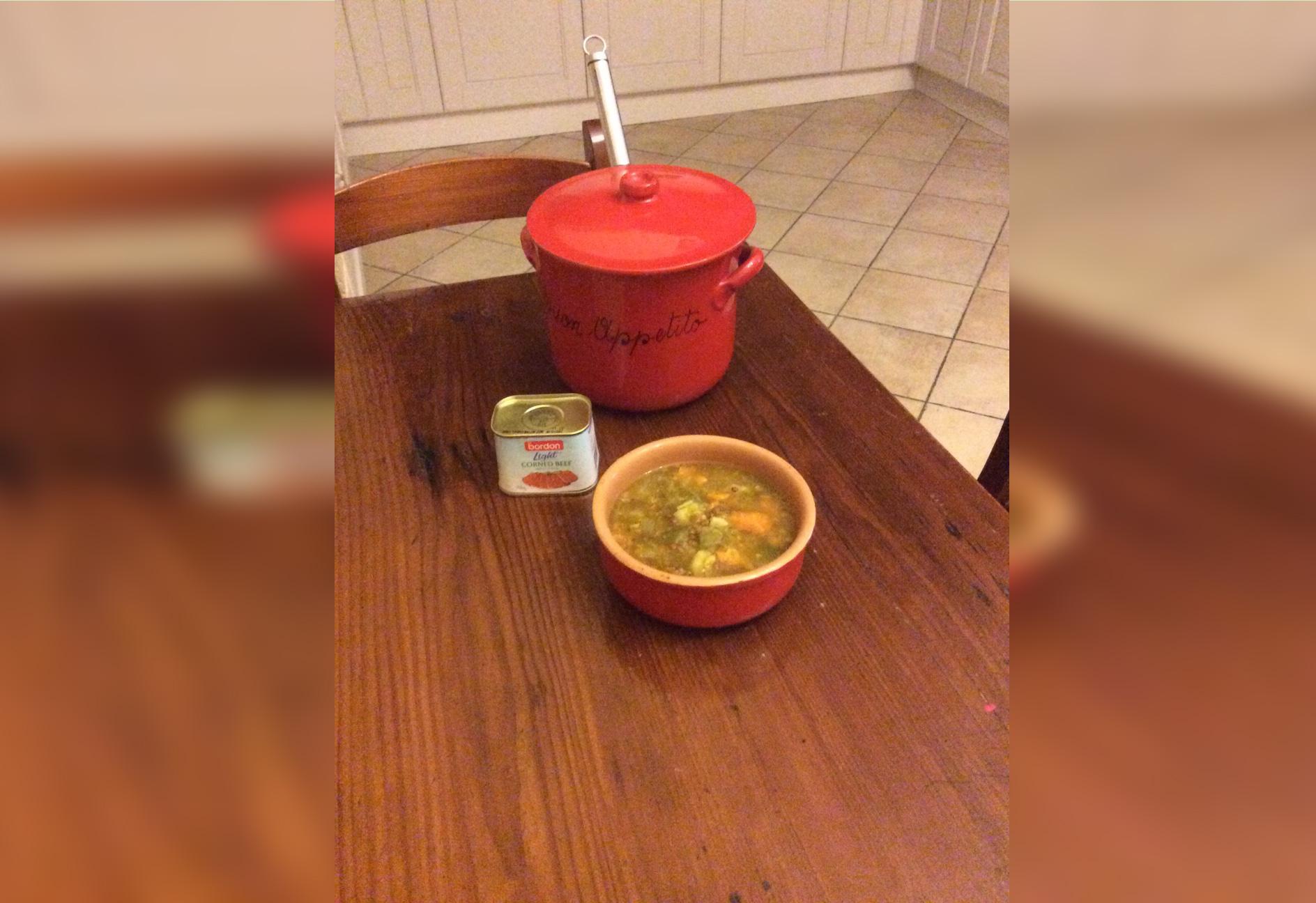 Doris-Camilleri-BORDON Recipe: Barley, corned beef and vegetable soup