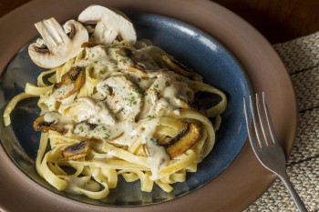 Mushroom and cheese tagliatelle