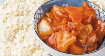 Pork with apricot sauce and rice