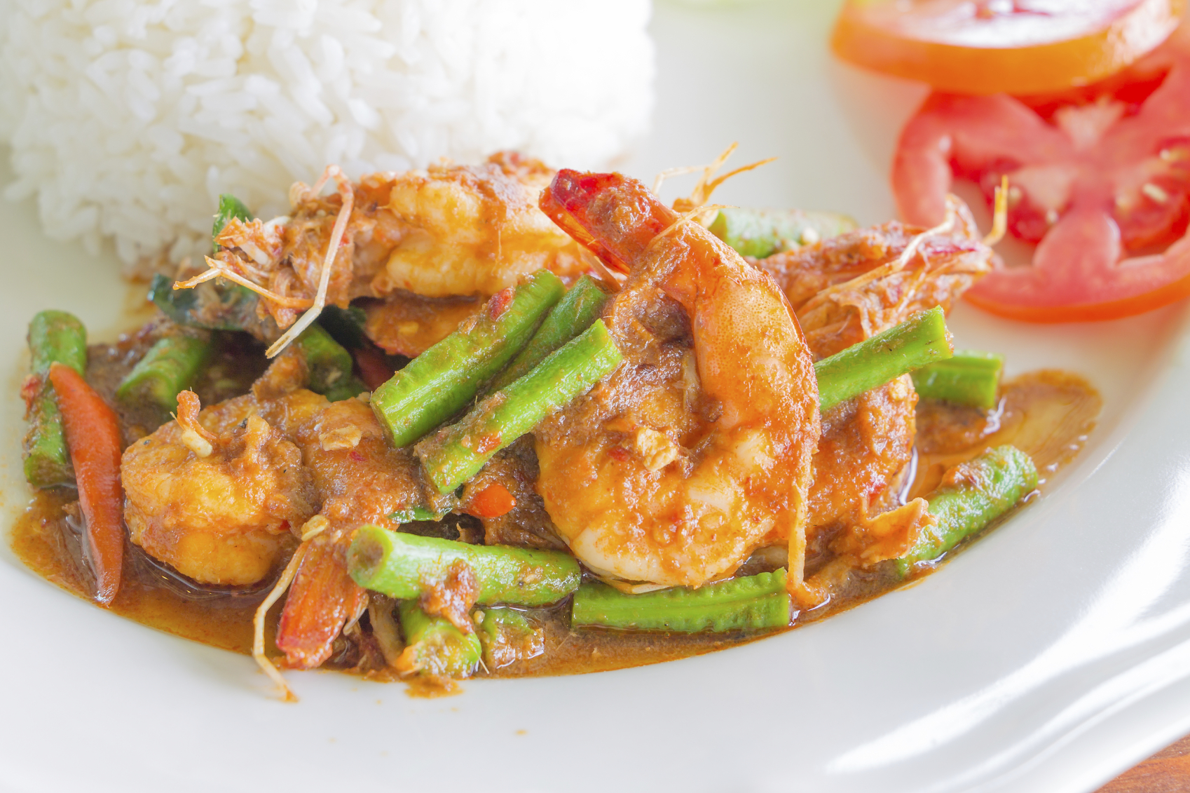 Prawn curry on bed of rice