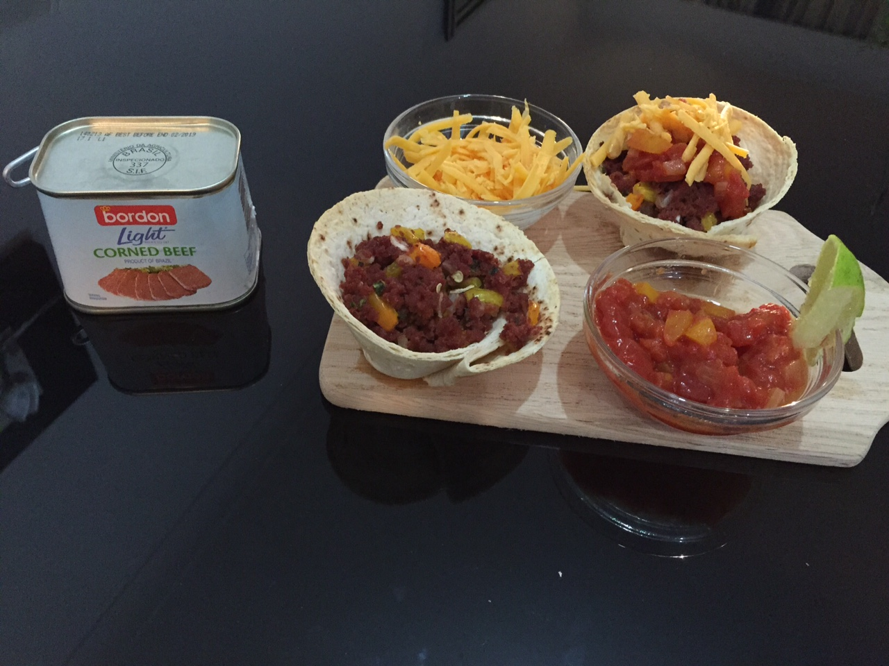 Rebecca Mercieca BORDON Recipe: Mexican crispy tortilla wraps filled with Bordon corned beef and spicy Mexican salsa