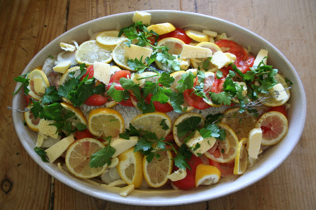 Sea bass with potaoes in oven
