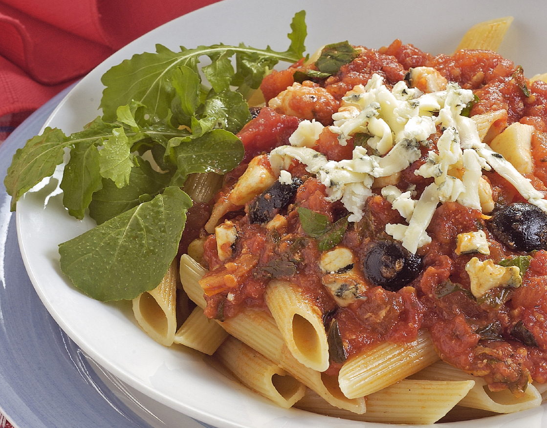 Anchovies olives and capers penne
