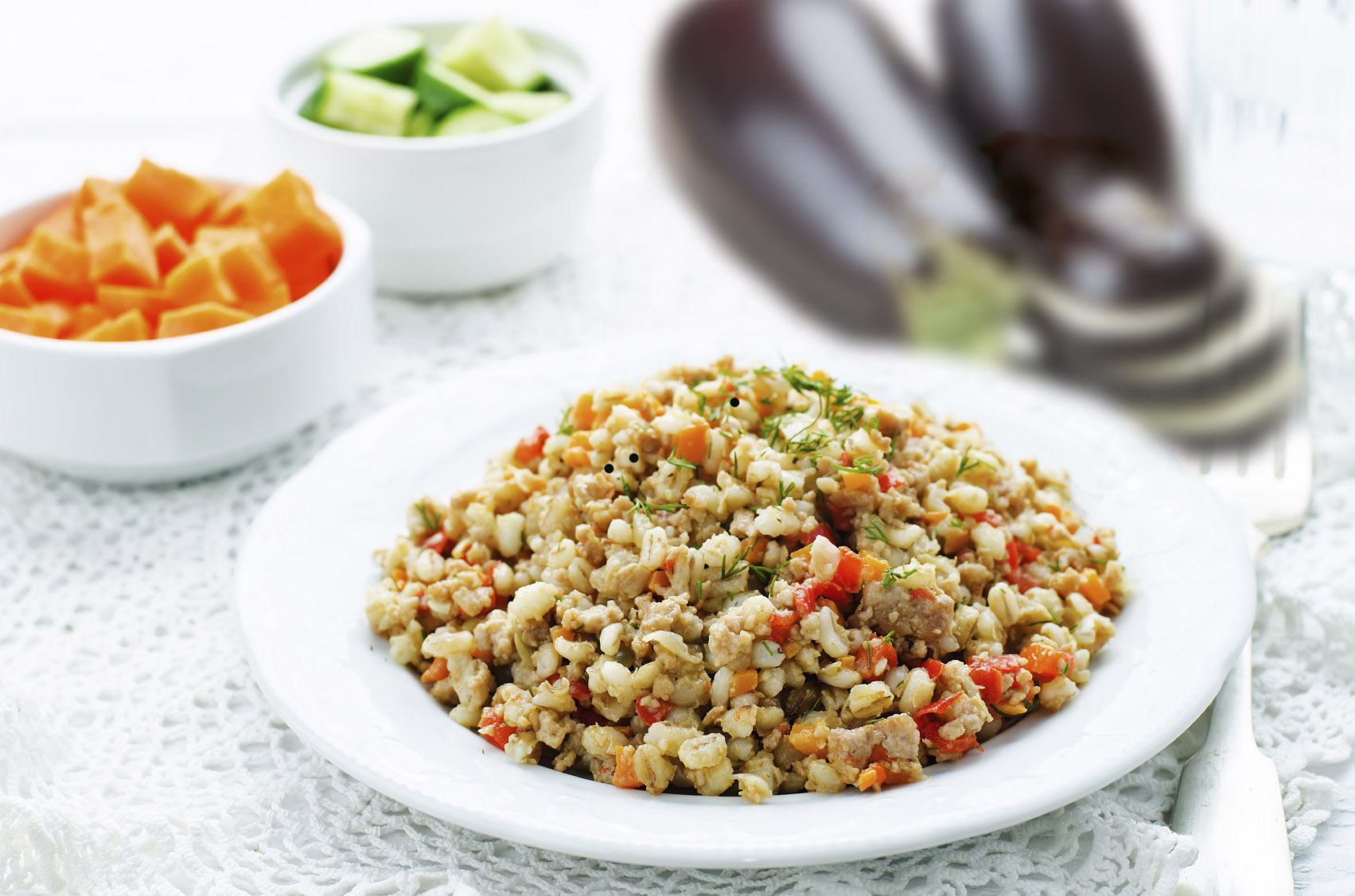 Aubergine with barley prepared