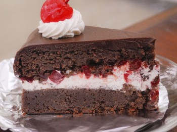 CHocolate cake with ice cream and cherry filling