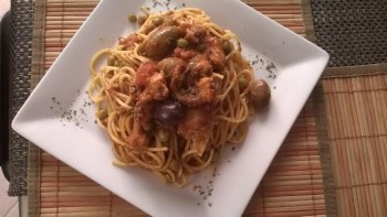 Octopus pasta with olives (Photograph by Pauline Spiteri Bugeja)
