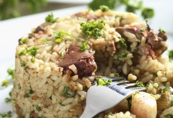 Rabbit liver risotto