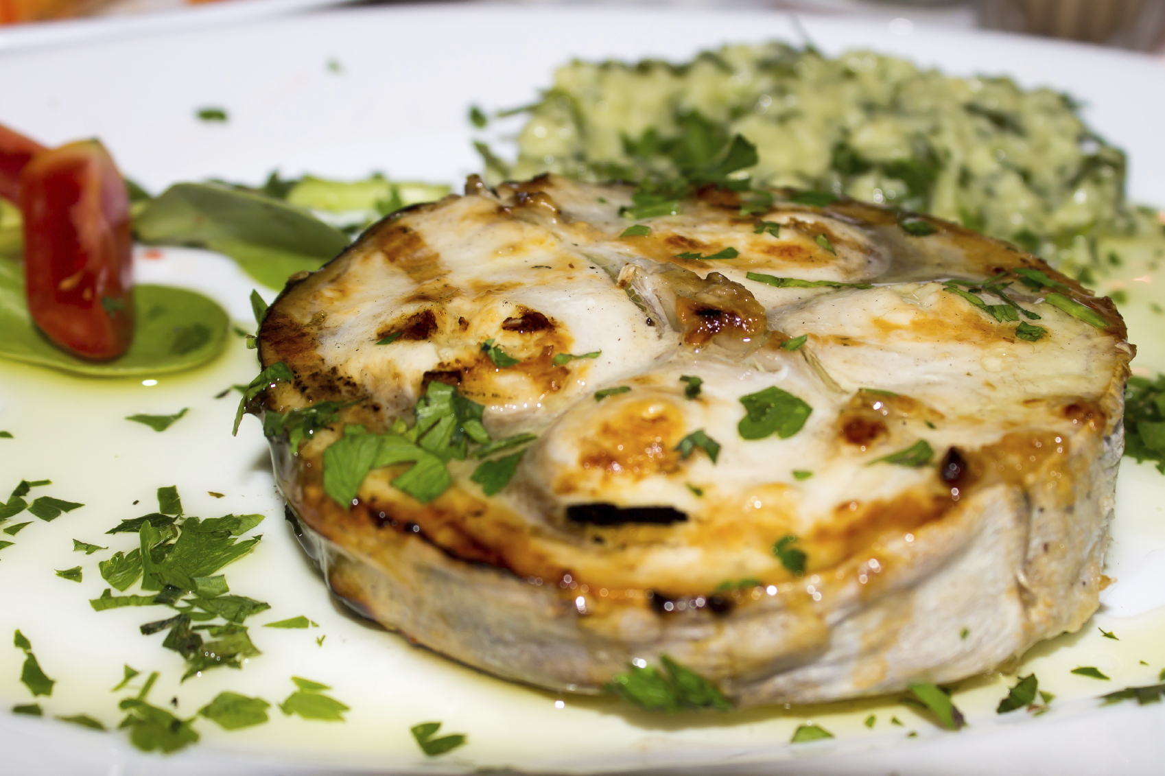 Grilled Swordfish and cucumber and mint sauce